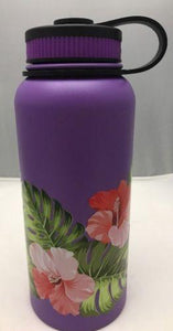 32oz Water Bottle Insulated Double Wall UV Print Hibiscus Monstera Leaf Wrap