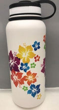 Load image into Gallery viewer, 32oz Water Bottle Insulated Double Wall UV Print Rainbow Hibiscus Wrap