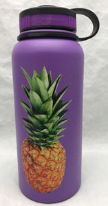 32oz Water Bottle Insulated Double Wall UV Print Hawaii Pineapple
