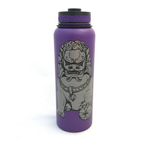 40oz Water Bottle Insulated Double Wall UV Print Shisa Lion Dog