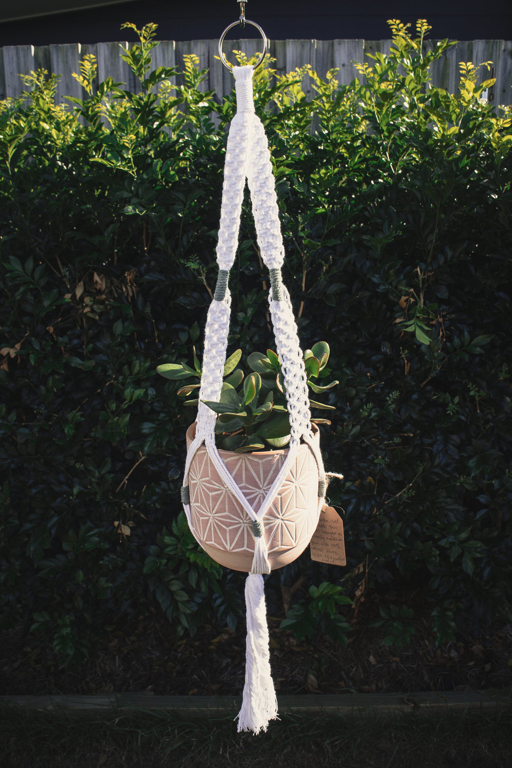 White & Green Macrame Pot Hanger