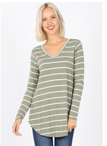 Olive Striped Long Sleeve