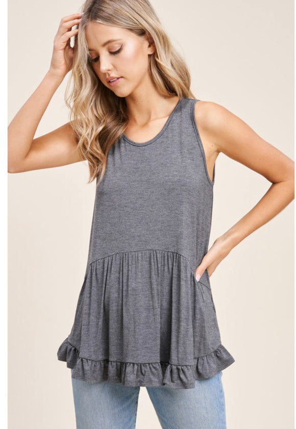 Grey Ruffled Tank