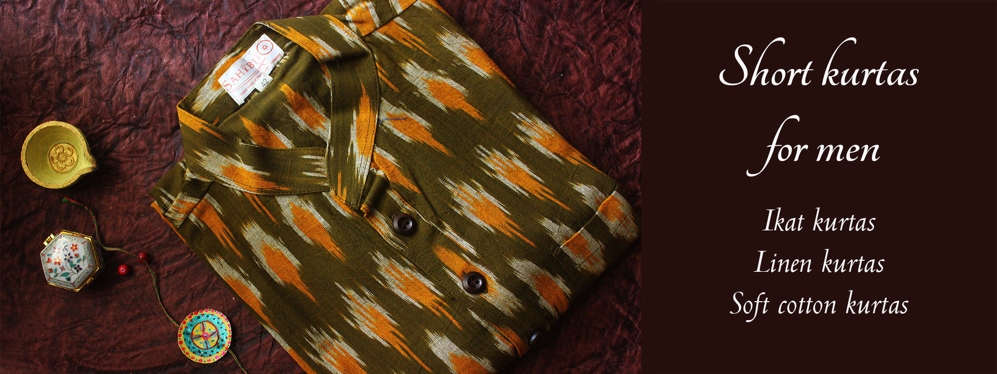 Short kurtas for men. Ikat kurtas for men. Cotton kurtas for men.