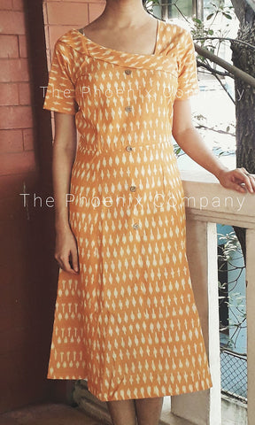 Mustard Sleeved Ikat Dress