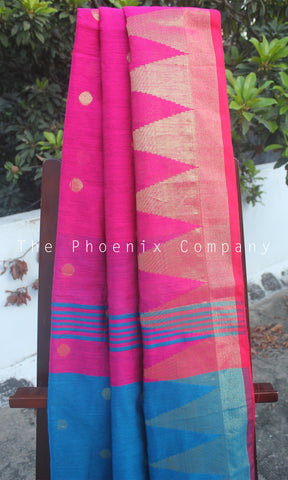 Pink & Blue Pineapple Fibre Saree