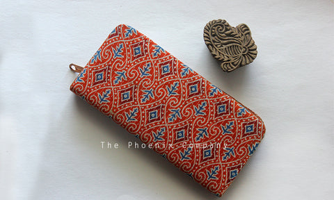 Orange Ajrakh Clutch Purse