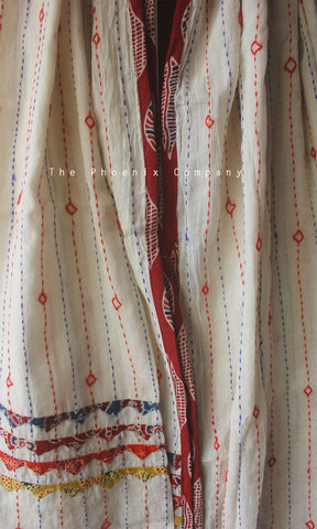 White Cotton Dupatta with Dark Red Leaf Border