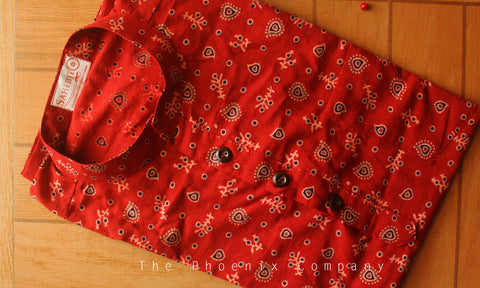 Red Ajrakh Short Kurta