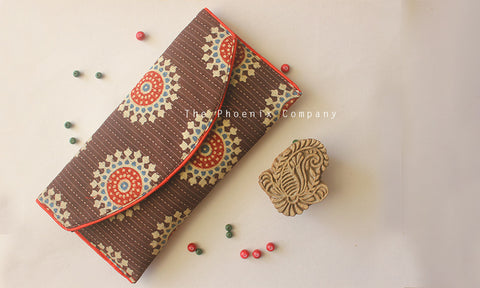 Brown Ajrakh Purse with White Circles