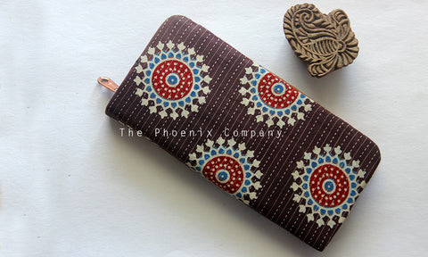 Dark Brown Ajrakh Clutch Purse