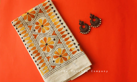 White Floral Kantha Work Blouse Piece
