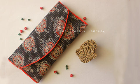 Black & Red Ajrakh Purse