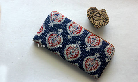 Dark Blue Ajrakh Clutch Purse with Leaf Motif