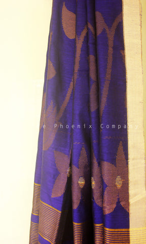Deep Blue Banana & Pineapple Fibre Floral Saree