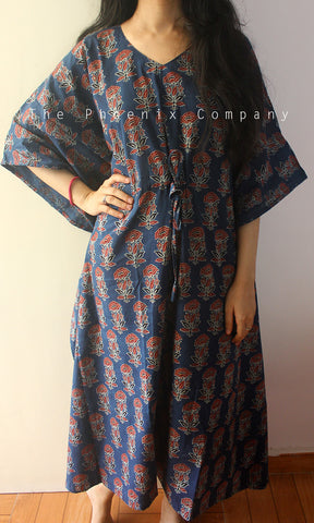 Dark Blue Big Floral Ajrakh Cotton Long Kaftan