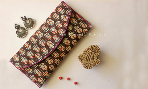 Black Ajrakh Purse with Red Flowers