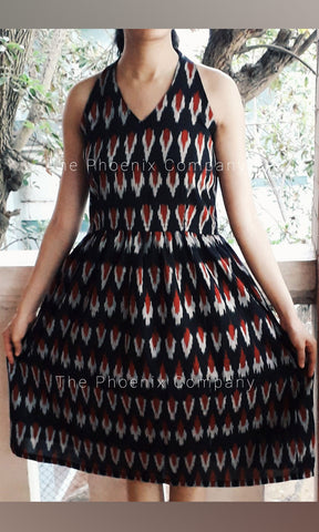 Black Halterneck Ikat Dress