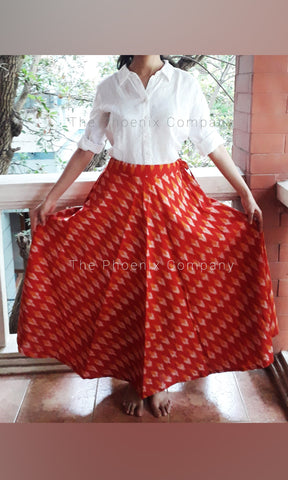 Red & Mustard Ikat Skirt