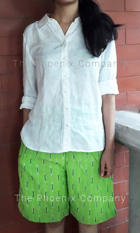 Light Green Ikat Shorts