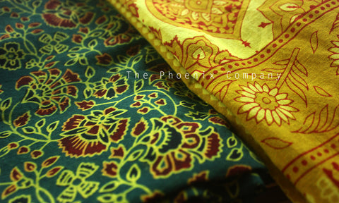 Ajrakh Green & Mustard Cotton Salwar Kameez Material with Florals