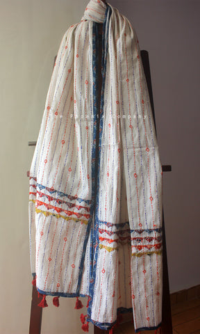 White Cotton Dupatta with Blue Floral Border