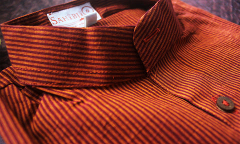 Maroon Striped Cotton Short Kurta
