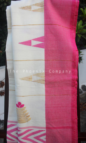 Off-white & Pink Soft Cotton Saree