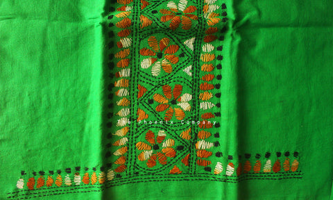 Green Floral Kantha Work Blouse Piece