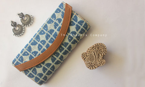 Light Blue Ajrakh Clutch Purse