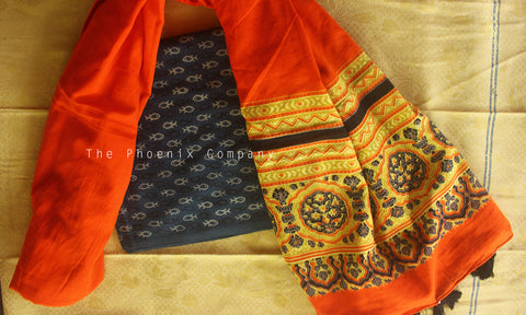 Ajrakh Blue Fish Kurta Material & Orange Dupatta