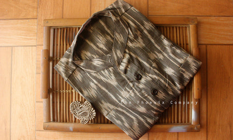 Dark Brown Ikat Short Kurta