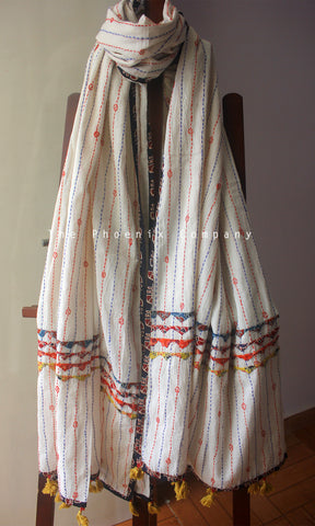 White Cotton Dupatta with Black & Red Border