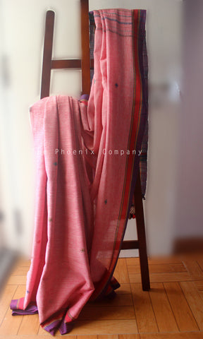 Pastel Pink Kala Cotton Handloom Bhujodi Saree