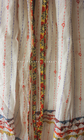 White Cotton Dupatta with Ochre & Orange Border