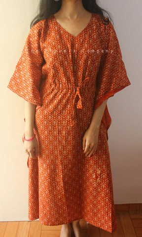 Dark Orange Small Florals Ajrakh Cotton Long Kaftan