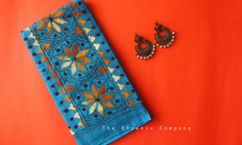 Blue Floral Circles Kantha Work Blouse Piece