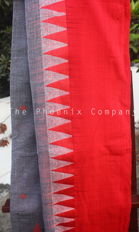 Grey & Red Soft Cotton Saree