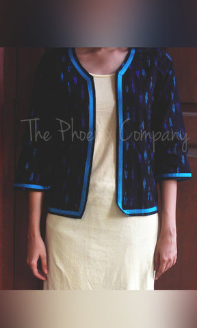 Blue & black Ikat Jacket with sleeves