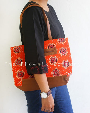 Orange Ajrakh Handbag with Faux Leather Base