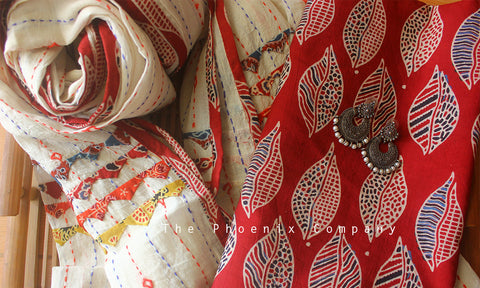 Ajrakh Dark Red Leaf Kurta Material & White Hand-embroidered Dupatta
