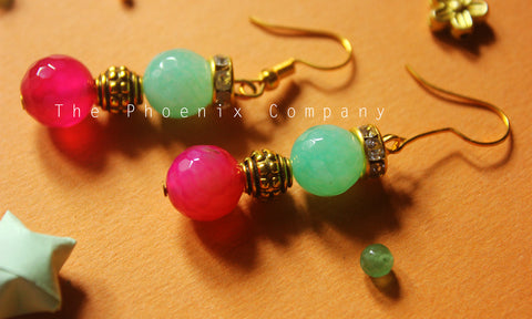 Green and Pink Bead Earrings