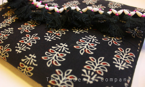 Black Floral Ajrakh Sling Purse with Tassles