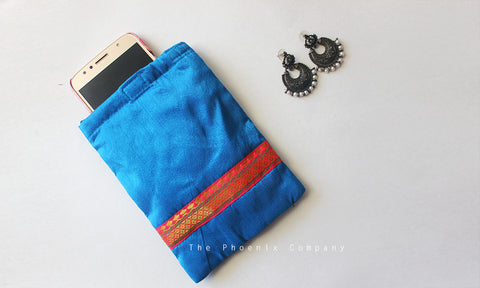 Blue & Pink Zari Cell Phone Pouch