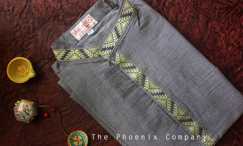 Grey Cotton Short Kurta with Border