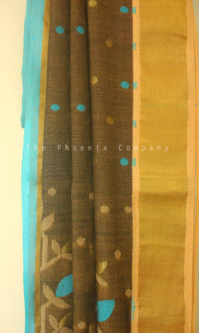 Brown Soft Cotton Saree with Ganga-Jamuna border