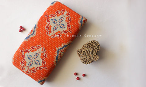 Orange Ajrakh Clutch with Red Motif