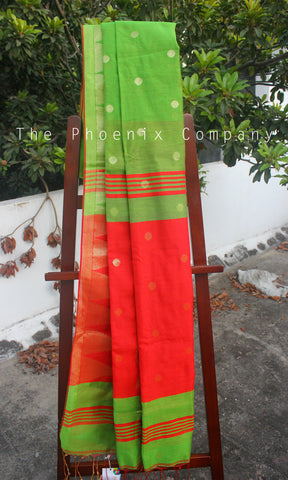 Parrot Green & Red Pineapple Fibre Saree