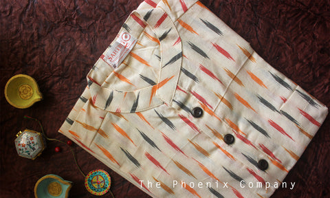 Off-white with Grey & Red Ikat Short Kurta