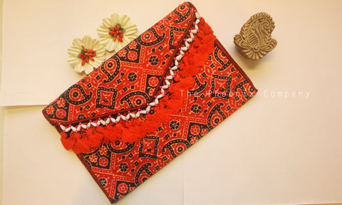 Red Ajrakh Sling Purse with Tassles